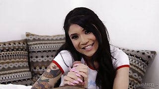 Tattooed Asian bitch Brenna Sparks gives her head and enjoys having dirty sex