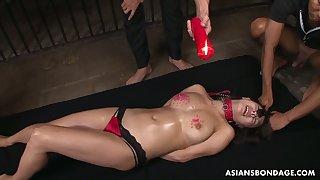 Several perverted dudes punish tied Japanese hooker Yayoi Yanagida
