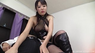Kinky latex lingerie babe with a hot mouth for sucking cock