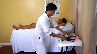 Kinky Doctor Vahn is conducting Asian twink Raves anal exam and treatment.