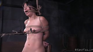 Asian cutie receives the vibrations while tied up in the basement