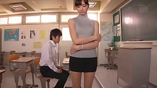 Tight sleeveness turtleneck on this tall hardcore Asian babe