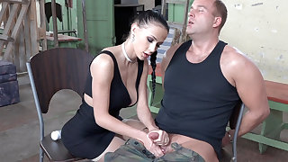 Sexy brunette screw around with dick of military