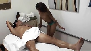 Naughty Masseuse Gives Massage Together with Blowjob