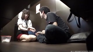 horny dude got surprised with a blowjob by his friend Hoshino Hibiki