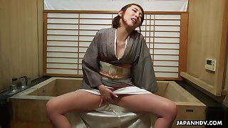 Japanese housewife in a kimono, Aya Kisaki is m