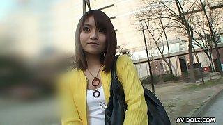 Asian girl helter-skelter hairy snatch Kimoko Tsuji hooks up helter-skelter barely known dude