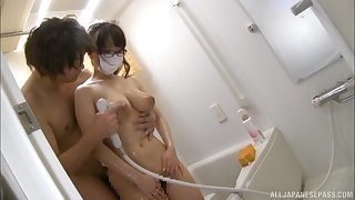 Hamaguchi Ena blows friend's penis vanguard an mamma fuck in be imparted to murder go to the toilet