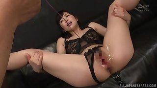 Hard Japanese toying and coitus for amazing Miyamura Nanako