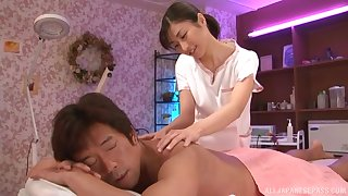 A rub down turns to rough fuck give horny Japanese Asahina Akari