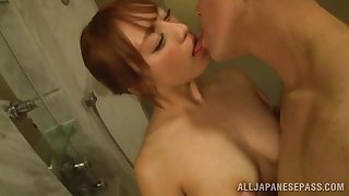 Sexy Asian Christine Kitajima blows every squirm of her friend's hard penis