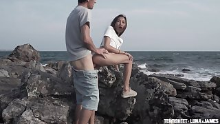 Naughty Asian skirt Luna X lets her naughty white BF fuck her outdoors