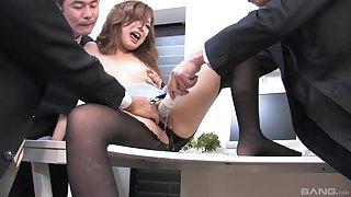 Japanese office beauty gets her parsimonious holes ravished