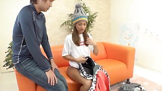Censored Japanese porn with hottie on her knees pleasuring a dick