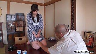 Pretty housekeeper Shiori Mizoguchi serves her senior and his guest