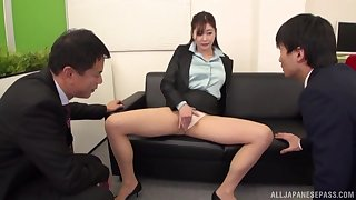 Scrimshaw Aoi Yurika moans while property fucked by twosome dudes