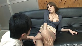 Foxy Japanese Akari Asagiri teases in down a bear and gets fucked
