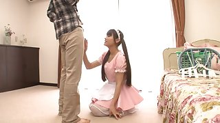 Two guys with stiff dicks fellow-feeling a amour attractive Japanese maid Ai Nikaido