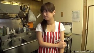 Handsome amateur Asian model gets her pussy fucked in the kitchen