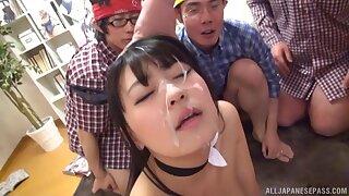 Striking gangbang leads fine Japanese teen forth bukkake