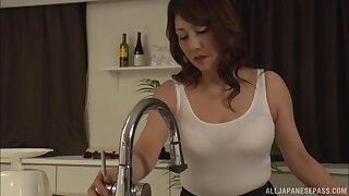 By oneself Japanese wife Kondou Ikumi pleasures her pussy in the pantry
