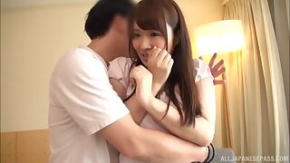 Quickie fucking on transmitted to sofa with natural tits Hibino Satomi